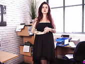 Tattooed and pierced BBW Miss Selene shows hot striptease in the office