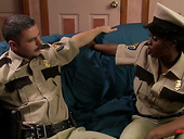 Filthy ebony policewoman Jada Fire is fucked by white partner at the police station