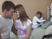 Russian student Kate G ties up her looser BF and makes him cuckold