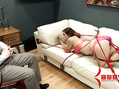 Kinky dude in mask fucks face and anal hole of tied up shibari babe