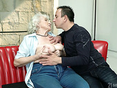 Whorish granny Norma gets intimate with one hot blooded young dude