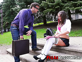 Kinky stranger has the honor to fuck yummy Canadian college chick Heidi Van Horny