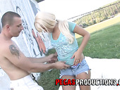 Luscious blonde Sindy Fox is making love with her boyfriend in public