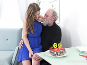 Old fart has the honor to fuck pretty hot teen with charming pussy