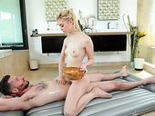 Small tittied Chloe Cherry gives a blowjob in the shower and provides man with a great nuru massage