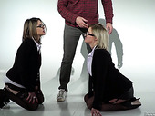 Four eyed blonde Sienna Day and her nasty GF are fucked hard by two horny dudes
