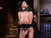 Kinky dude examines pussy and anus of tied up porn model Angela White