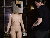 Dude punishes pussy of tied up babe Kendra Spade in the dark basement