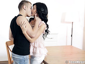 Charming brunet teen Dinara C is making love with hot blooded boyfriend