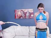 Blue eyed girl in Princess Jasmine outfit gets her mouth and anus nailed hard