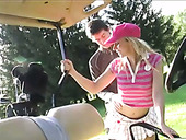 Captivating teen Candy Kiss gets her pussy licked and fucked on the golf course