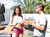Lustful babe in shorts Emily Addison has an affair with handsome boy Johnny Castle