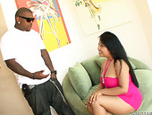 Quite big bottomed Asian brunette Kya Tropic rides fat long BBC on top
