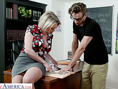 Fabulous curvaceous Dee Williams gets bent over the table and fucked properly