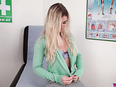 Juggy blond patient Sophie K gets naked and shows off her juicy snatch and yummy boobies