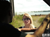 Kinky pervert fuck mouth and pussy of sexy hitchhiker Lily Dixon and cums on her face