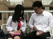 Shy Japanese girl Sayaka Aishiro get intimate with one of the college fellows