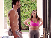 Bosomy chick with big ass Ella Knox gives a titjob and blowjob to her neighbor