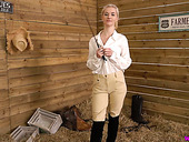 Blond horse rider Gracie gets naked and shows off her yummy tits