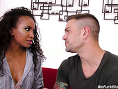 Black chick with curly hair Demi Sutra is having dirty sex fun with hot blooded white dude