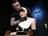 Transsexual nun Natalie Mars rides a big cock of one tattooed dude