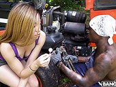 Bootyful ebony chick Jamie Marleigh gives a blowjob to hot blooded black stranger