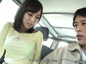 Whorish Asian chick Shiori Yamate gives a blowjob to one stranger driver
