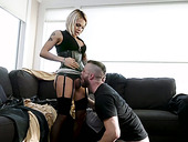 Big assed shemale Foxxy fucks deep throat and stretched ass hole of bisexual boyfriend