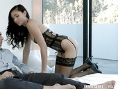 Sex-appeal babe in sexy lingerie Ariana Marie is making love with her boyfriend