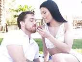 Craving for sex babe Sadie Blake gives a blowjob and gets fucked outdoor