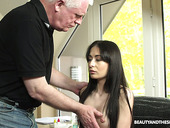 Libidinous 19 Yo Teen Roxy Sky Hooks Up With Kinky Old Fart Right In His Office