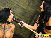 Mad mistress fuck tied up tattooed hooker Alby Rydes and makes her cunt destroyed