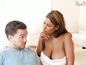 Jaw dropping mommy Bridgette B gives her head and provides stepson with a great titjob