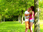 Red haired girlfriend Nikki Fox is making love in the summer park