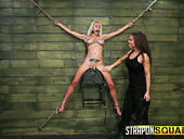 Sextractive blonde with fake boobs Marsha May is tied up and punished by brunet mistress
