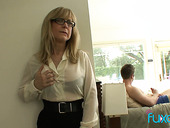 Mature fake tittied stepmom caught her stepson jerking off hard big cock