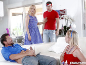 Lustful busty blonde Sarah Vandella takes part in crazy group sex scene