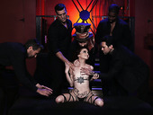 Tattooed bitch Lola Fae gets double penetrated during hardcore gangbang scene