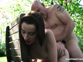 Young nympho Charlotte Johnson seduces old naked dude in the garden