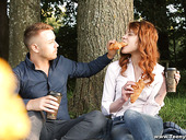 Cute red haired teen Mary Solaris gets intimate with new boyfriend on the first date