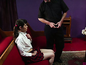 Sinful teen Audrey Noir hooks up with perverted old priest