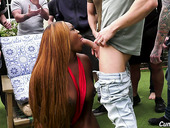 Black BBW Jayden Starr is fucked and jizzed by the crowd of white dudes