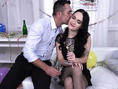 Whorish brunette Sasha Sparrow allows to fill anal hole with sperm on the first date