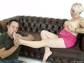 Lustful granny Bibi Pinkis having crazy sex fun with young lover