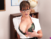 Busty teacher Hannah Brooks gives a blowjob and gets facial in hot pov scene