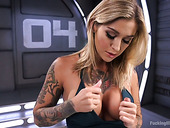 Professional porn model Kleio Valentien is testing new crazy fucking machine