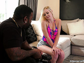 Petite blonde Natalia Queen is eager for hardcore interracial sex for the first time