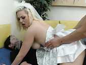 Kinky best man fucks slutty bride Jenna Ivory in front of tied up groom