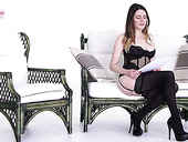 Sex-appeal babe Samantha Bentley is reading erotic stories in sexy lingerie