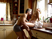Sexy housewife Dido Angel is making love with her husband early in the morning